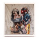 """""""Judith and her Maidservant"""" oil on dress pattern 115cm x 115cm"""