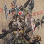 """Chy"" 2012 120cm x 80 cm Oil on dress pattern/canvas, Ain Il Zhailta   Lebanon"