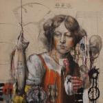 """Rented II"" 2012 120cm x 80 cm Oil on dress pattern/canvas"