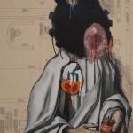 """Grenadier""  100cm x 70 cm Oil on dress pattern/canvas,"