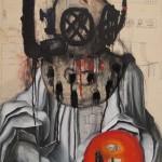 """""""Diver"""" 2012 100cm x 70 cm Oil on dress pattern/canvas,"""